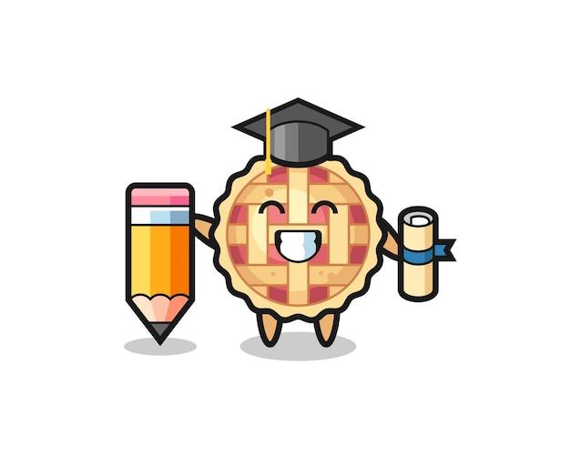 アップルパイのイラスト漫画は、巨大な鉛筆、tシャツ、ステッカー、ロゴ要素のかわいいスタイルのデザインで卒業です
