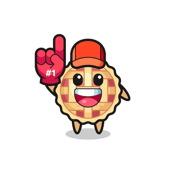 Apple pie illustration cartoon with number 1 fans glove , cute style design for t shirt, sticker, logo element