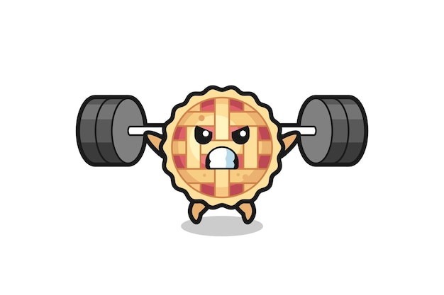 Apple pie mascot cartoon with a barbell , cute style design for t shirt, sticker, logo element