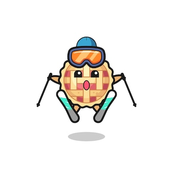 Apple pie mascot character as a ski player , cute style design for t shirt, sticker, logo element
