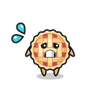 Персонаж талисмана яблочного пирога с испуганным жестом, милый стильный дизайн для футболки, стикер, элемент логотипа