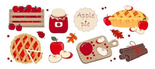 Apple pie set: pie cut on top, pie with apples, cutting board, apples in a box, apple slices, cinnamon.