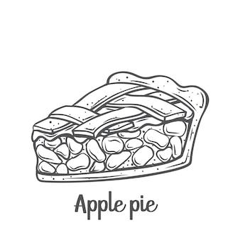사과 파이 조각 개요 아이콘입니다. 그린 아메리칸 수제 전통 디저트.