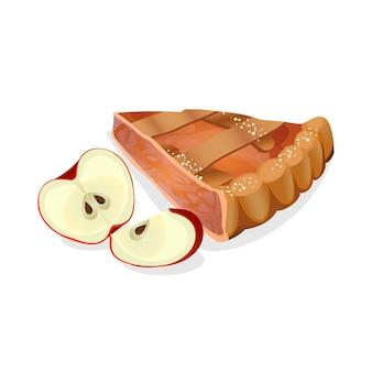 白で隔離される新鮮な赤い熟した果物とアップルパイスライス。伝統的な英国のケーキ。図。