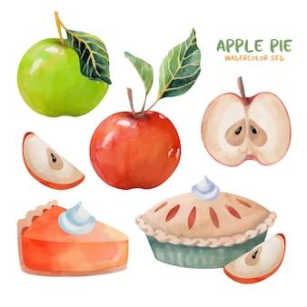 애플 파이 수채화 세트