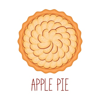 Apple pie with cinnamon on white background, top view, vector illustration