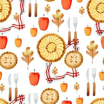 Яблочные пироги акварель благодарения бесшовный фон