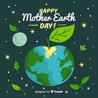 Apple planet mother earth day background