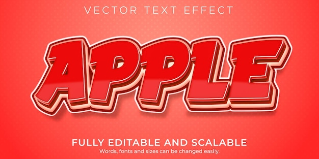 Apple red text effect editable fruit and natural text style Free Vector