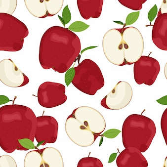 Apple seamless pattern and slice dropping. red apples fruit