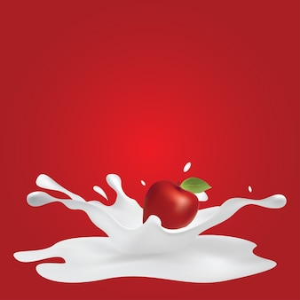 Apple splashing milk