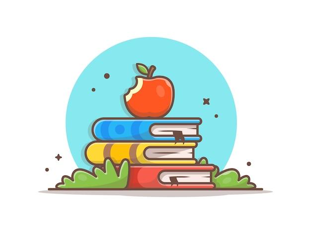 Apple on stack of books vector illustration