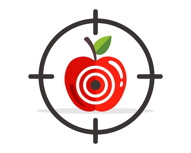 Apple target. hit exactly the target. flat vector illustration