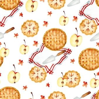 Яблоко вкусные пироги акварель благодарения бесшовный фон
