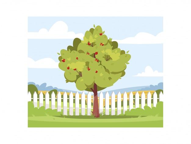 Apple tree in backyard semi   illustration