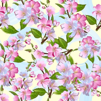 Apple-tree flowers seamless pattern, spring blossom.