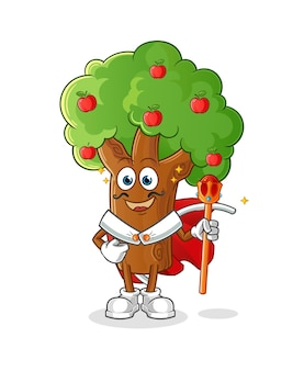 Apple tree king . cartoon character