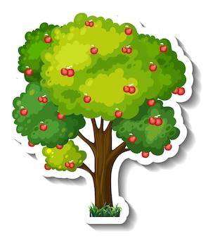 白い背景の上のリンゴの木のステッカー 無料ベクター