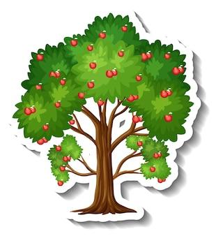 흰색 바탕에 사과 나무 스티커