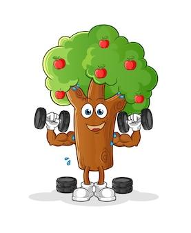 リンゴの木のウエイトトレーニングのイラスト。キャラクター
