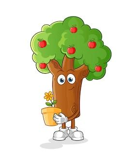 꽃 냄비 일러스트 디자인으로 사과 나무