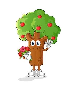 花束のマスコットとリンゴの木。漫画