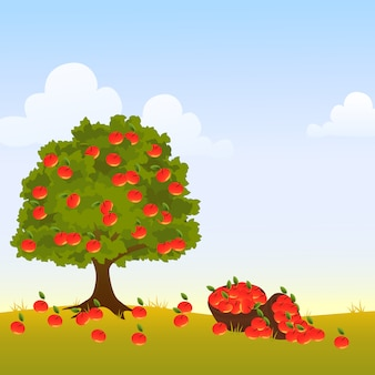 Apple tree with empty space illustration