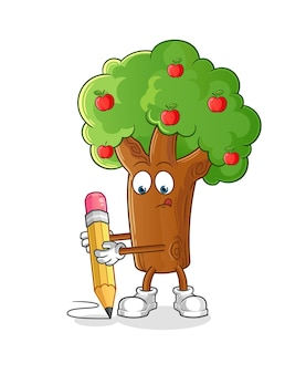 연필 캐릭터 일러스트 디자인으로 사과 나무 쓰기