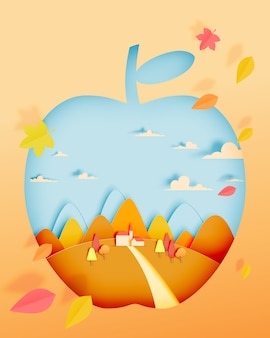 Apple with autumn leaves and beautiful landscape in paper art style and pastel background