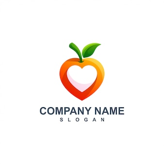 Apple with heart logo design