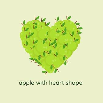 心臓の形をしたリンゴ Premiumベクター