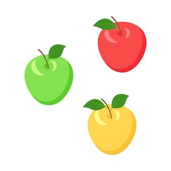 葉等尺性ベクトルイラストセットとアップル。