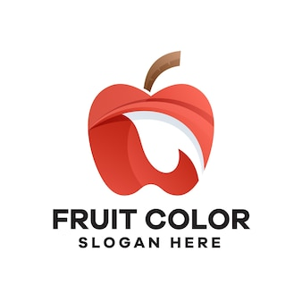 Apple with leaves gradient logo design