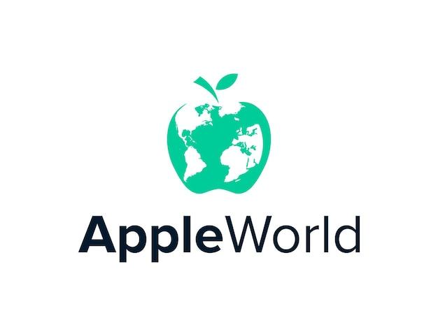 네거티브 공간 세계지도가있는 사과 단순하고 세련된 독창적 인 현대적인 로고 디자인