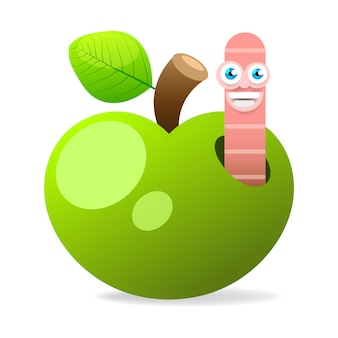 Apple with worm on white background vector illustration