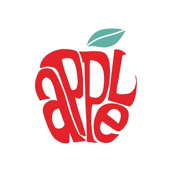Apple word typography design illustration