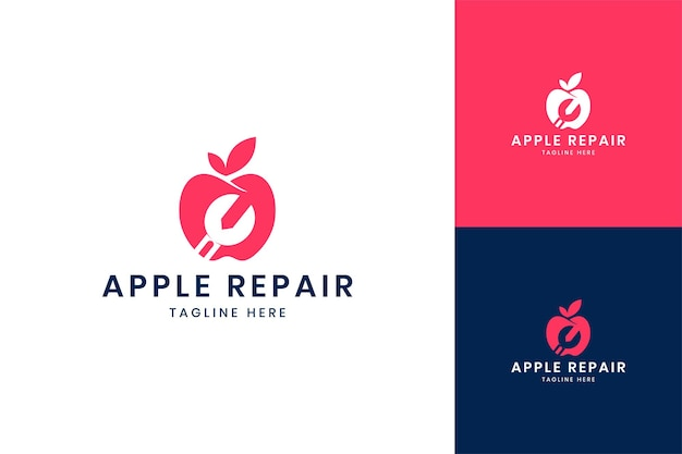 Apple wrench negative space logo design