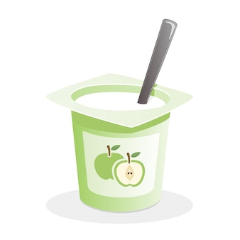 Apple yogurt with spoon inside on white background