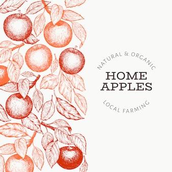 Appleブランチテンプレート。手描きの庭の果物のイラスト。刻まれたスタイルのフルーツフレーム。レトロな植物バナー。