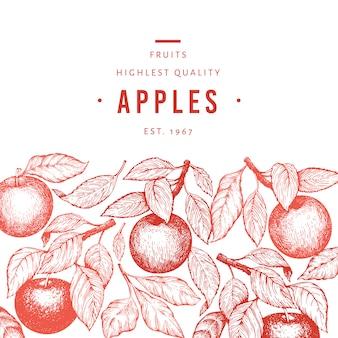 Apple, филиал шаблон. нарисованная рукой иллюстрация плодоовощ сада. фруктовая рамка с гравировкой. ретро ботанический баннер.
