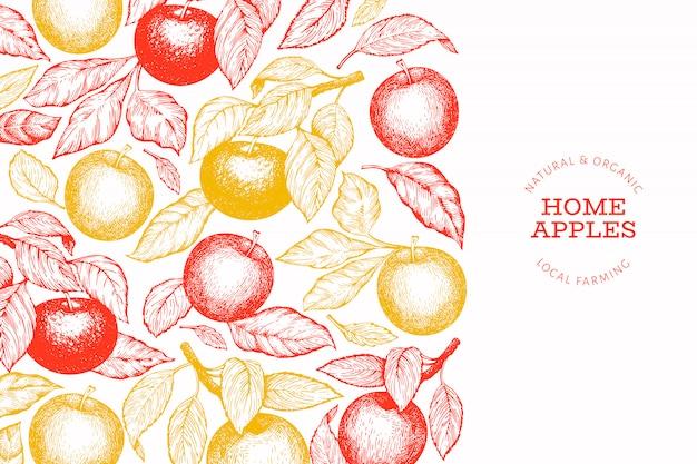 Appleブランチテンプレート。手描きの庭の果物のイラスト。刻まれたスタイルフルーツレトロ植物園バナー。