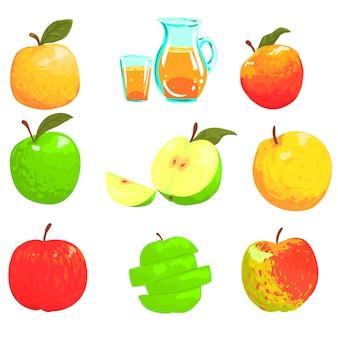 Яблоки и яблочный сок классный стиль яркие иллюстрации