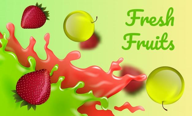 Яблоки и клубника. свежие фрукты. ,