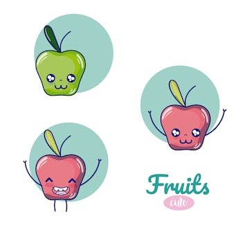 Apples cute fruits cartoons