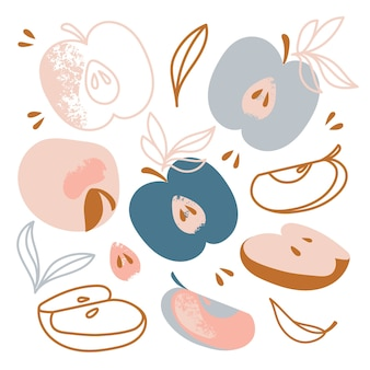 Applesおいしい甘いフルーツガーデン野菜の自然手描きフラットデザイン漫画クリップアート