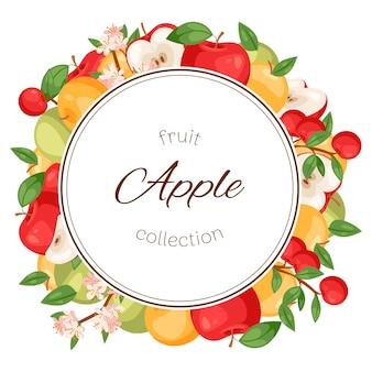 Apples fruit. healthy fresh andganic food frame.