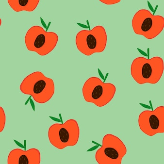 Apples on green seamless pattern background vector