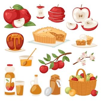 Яблоки здоровый яблочный пирог с вареньем и яблочный сок из свежих фруктов в саду с appletrees иллюстрации набора, изолированных на фоне