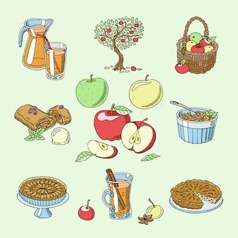 Яблоки здоровой пищи яблочный пирог и яблочный сок из свежих фруктов в саду с appletrees иллюстрации набора, изолированных на фоне