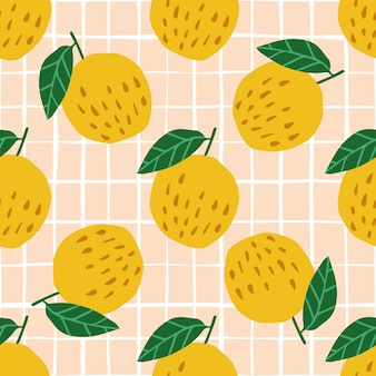 Apples and leaves seamless pattern on stripe